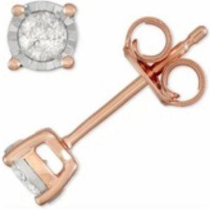 Macy's Diamond Stud Earrings In Rose Gold